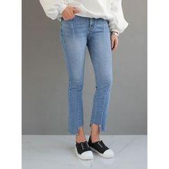 STYLEBYYAM - Washed Asymmetric-Hem Jeans