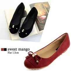 SWEET MANGO - Beribboned Faux-Suede Flats