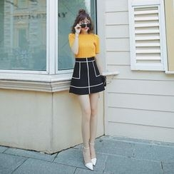 Tang House - Contrast Trim A-Line Skirt