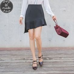 WITH IPUN - Ruffled Asymmetric-Hem Skirt