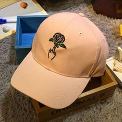 Hats 'n' Tales - Rose Embroidered Baseball Cap