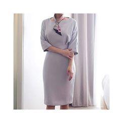 MASoeur - Round-Neck Cuffed- Sleeve Sheath Dress