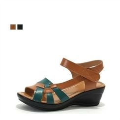 MODELSIS - Genuine Leather Color-Block Ankle-Strap Sandals