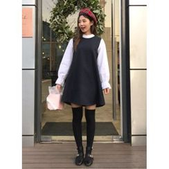icecream12 - Inset Blouse Puff-Sleeve Shift Dress