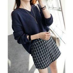 UPTOWNHOLIC - Slit-Side Wool Blend Knit Top