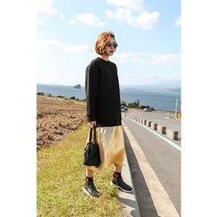 PPGIRL - Mock Two-Piece Pleated-Hem Pullover Dress