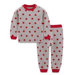 Yobaby - Kids Pajama Set: Apple-Print Top + Pants