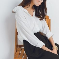 Porta - Plain V-neck Long-Sleeve Blouse