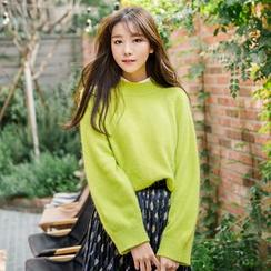 WITH IPUN - Wool Blend Raglan-Sleeve Sweater