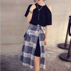 HazyDazy - Set: Cut Out Shoulder Short Sleeve Dress + Side Split Midi Skirt