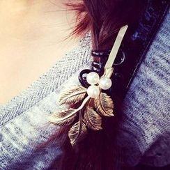 Tiea - Beaded Leaf Hair Pin