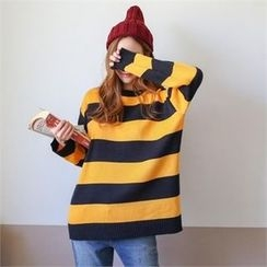 PINKSISLY - Round-Neck Color-Block Sweater