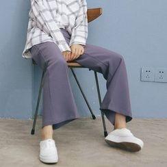 Porta - Plain Boot-cut Pants