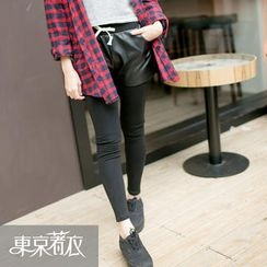 Tokyo Fashion - Inset Faux-Leather Shorts Leggings
