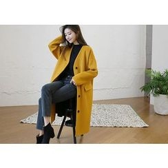 Hello sweety - Collarless Wool Blend Coat