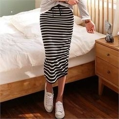 CHICFOX - Drawstring-Waist Striped Long Skirt