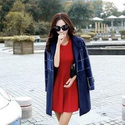 Romantica - Short-Sleeve Wool Blend A-Line Dress