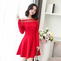 Emeline - Crochet Trim Off-Shoulder A-Line Dress