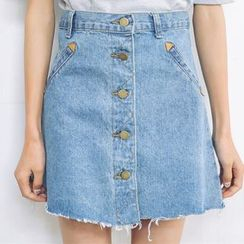 SUYISODA - Button-front Denim Skirt