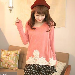 Tokyo Fashion - Dotted Ruffle-Hem Lace-Trim Dress