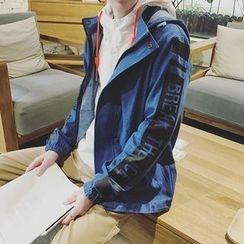 MEING - Lettering Hooded Denim Jacket