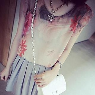 DreamyShow - Frilled Sleeveless Floral Print Top