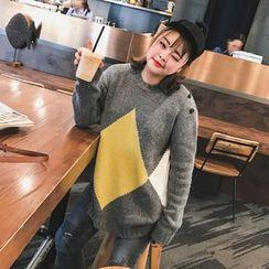 Jinggu Studio - Argyle Patterned Long Sweater