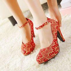 安若 - 婚礼刺绣踝带高跟鞋