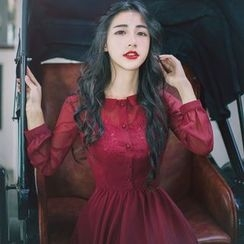 Romantica - Long-Sleeve Plain Maxi Dress