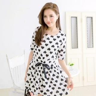 Tokyo Fashion - Tie-Waist Heart-Print Chiffon Dress