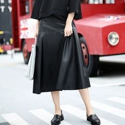 Ultra Modern - Faux Leather A-Line Midi Skirt