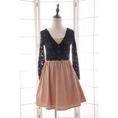 Reine - Set: Embellished Sleeveless Dress + Lace Jacket