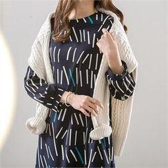 PIPPIN - Frill-Hem Pattern Midi Dress