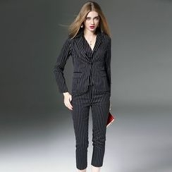 Queen Mulock - Set: Striped Blazer + Vest + Pants
