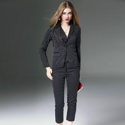 洛圖 - 條紋西裝馬甲長褲套裝