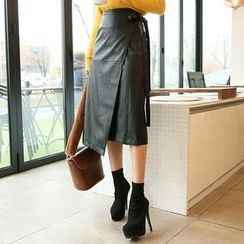 DABAGIRL - Faux-Leather Midi Wrap Skirt