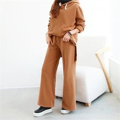 PEPER - Set: Hooded Drop-Shoulder T-Shirt + Band-Waist Wide-Leg Pants