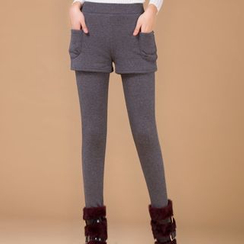 Fancy Show - Fleece-Lined Inset Shorts Leggings