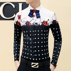 Besto - Long-Sleeve Dotted Print Panel Shirt