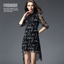 Ozipan - Elbow-Sleeve Tie-Neck Printed Dress