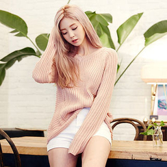 chuu - V-Neck Cable-Knit Top