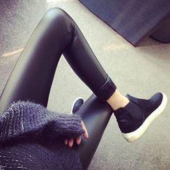 Neeya - Faux Leather Fleece Lined Leggings