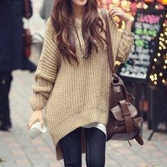 lilygirl - Hooded Chunky Knit Long Sweater