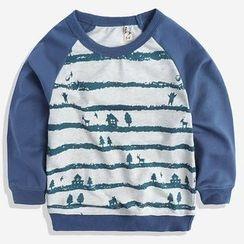 Happy Go Lucky - Kids Print Raglan Long-Sleeve T-shirt