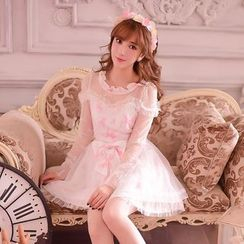 Candy Rain - Long-Sleeve Bow-accent Lace Dress