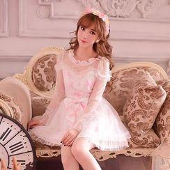 糖果雨 - 長袖蝴蝶結蕾絲連衣裙