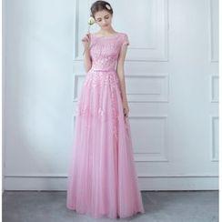 MSSBridal - 短袖綴蕾絲晚禮服