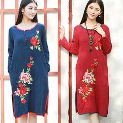 Diosa - Flower Embroidered Long Sleeve Dress