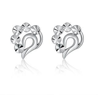 MaBelle - 14K Italian White Gold Diamond-Cut Teardrop Heart Stud Earrings, Women Girl Jewelry in Gift Box