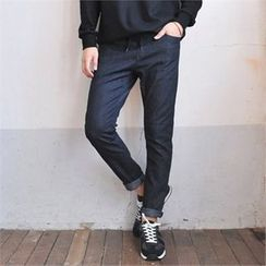 MITOSHOP - Drawstring-Waist Slim-Fit Denim Jeans